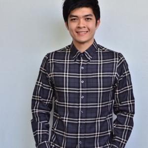 เสื้อลายสก๊อต ผู้ชาย สีเทาดำ Grey Flannel Shirt
