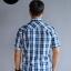 เสื้อเชิ้ตลายสก๊อตผู้ชาย สีน้ำเงิน แขนสั้น ไซส์ใหญ่ thumbnail 3
