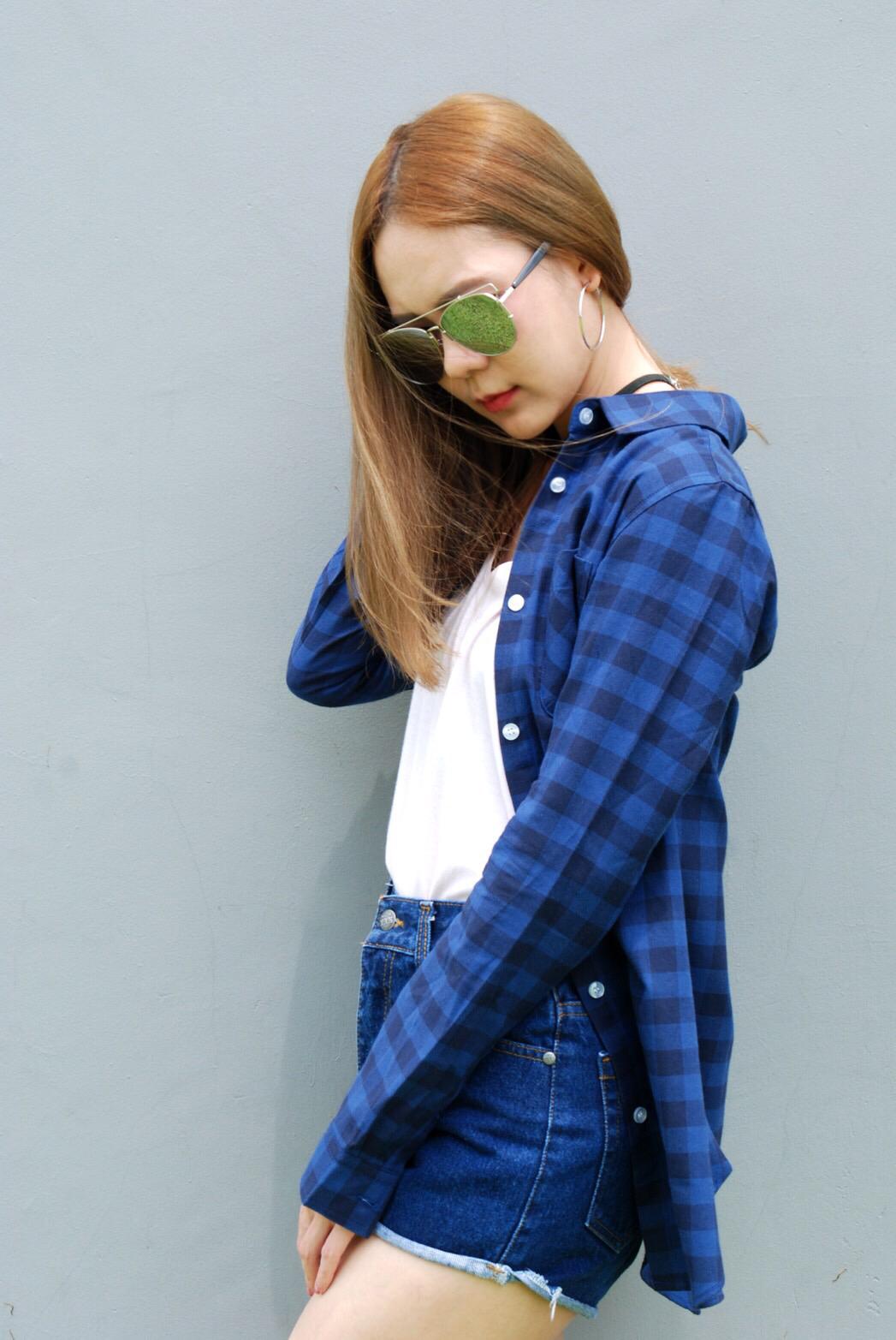 เสื้อคลุมลายสก๊อตผู้หญิงสีน้ำเงิน