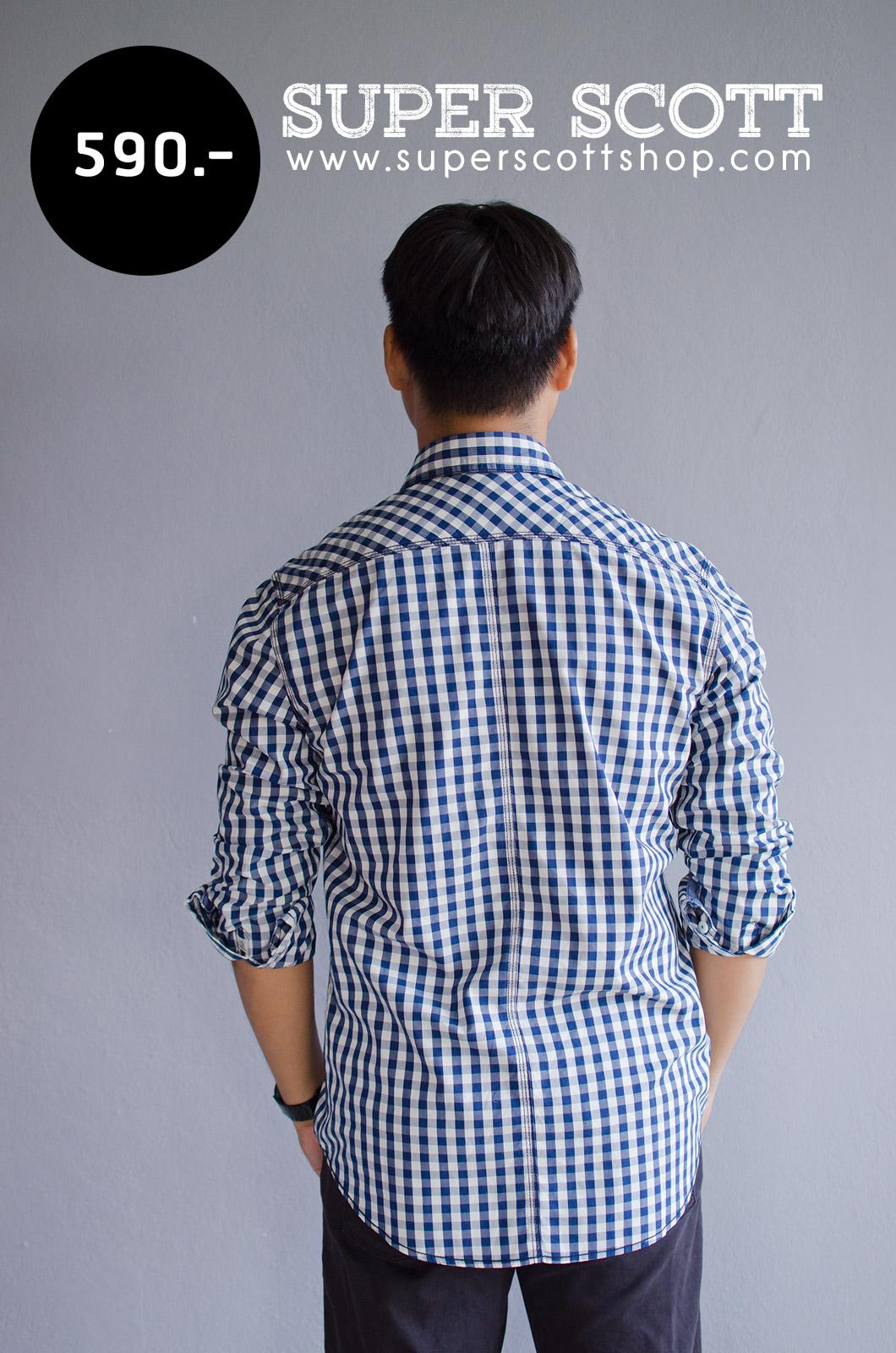 เสื้อเชิ้ตลายสก๊อตผู้ชาย สีน้ำเงินขาว