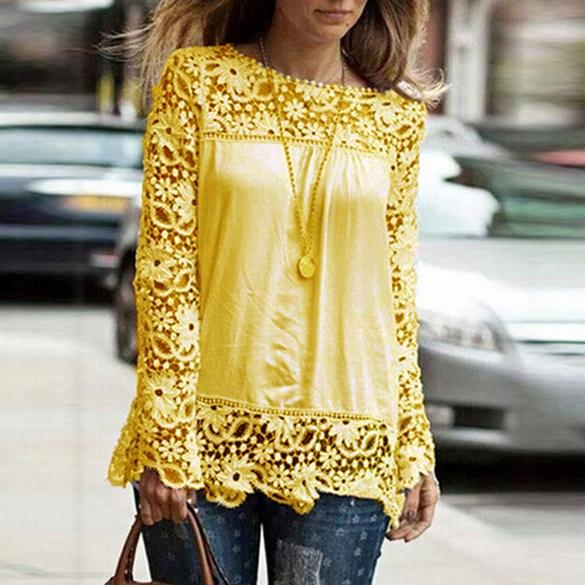 รหัส W35 เสื้อผ้าลูกไม้และชีฟองสีเหลือง ผ้าเนื้อดี ใส่สบาย
