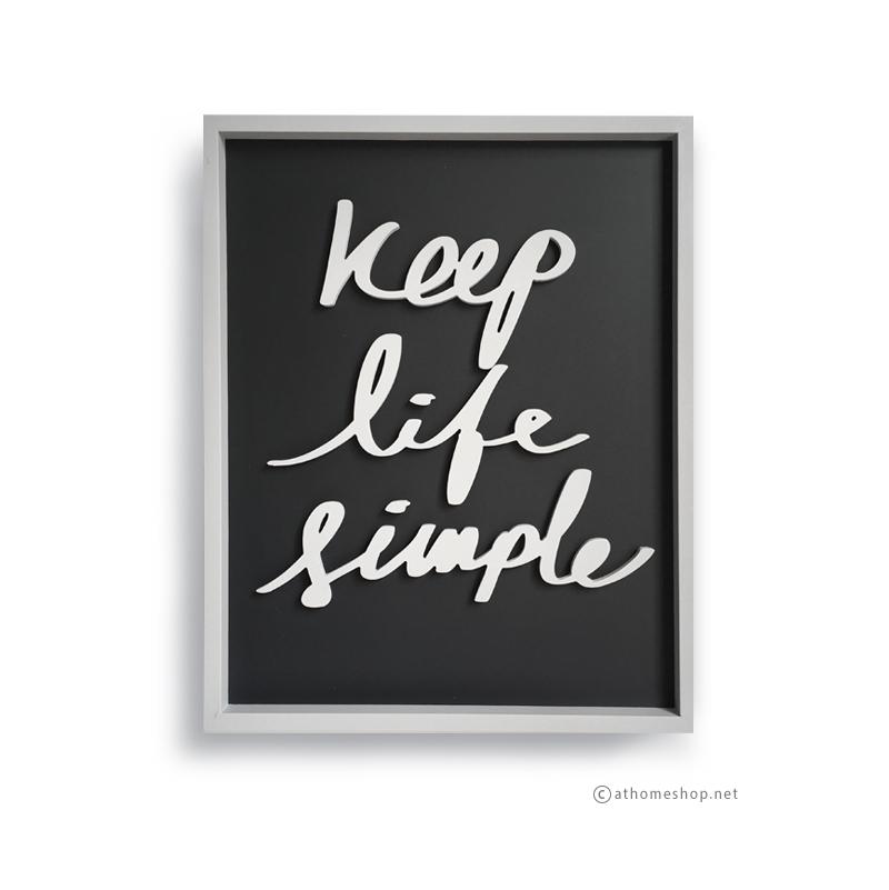 วอลล์อาร์ตตัวอักษร 3 มิติ KEEP LIFE SIMPLE พื้นดำกรอบเทา