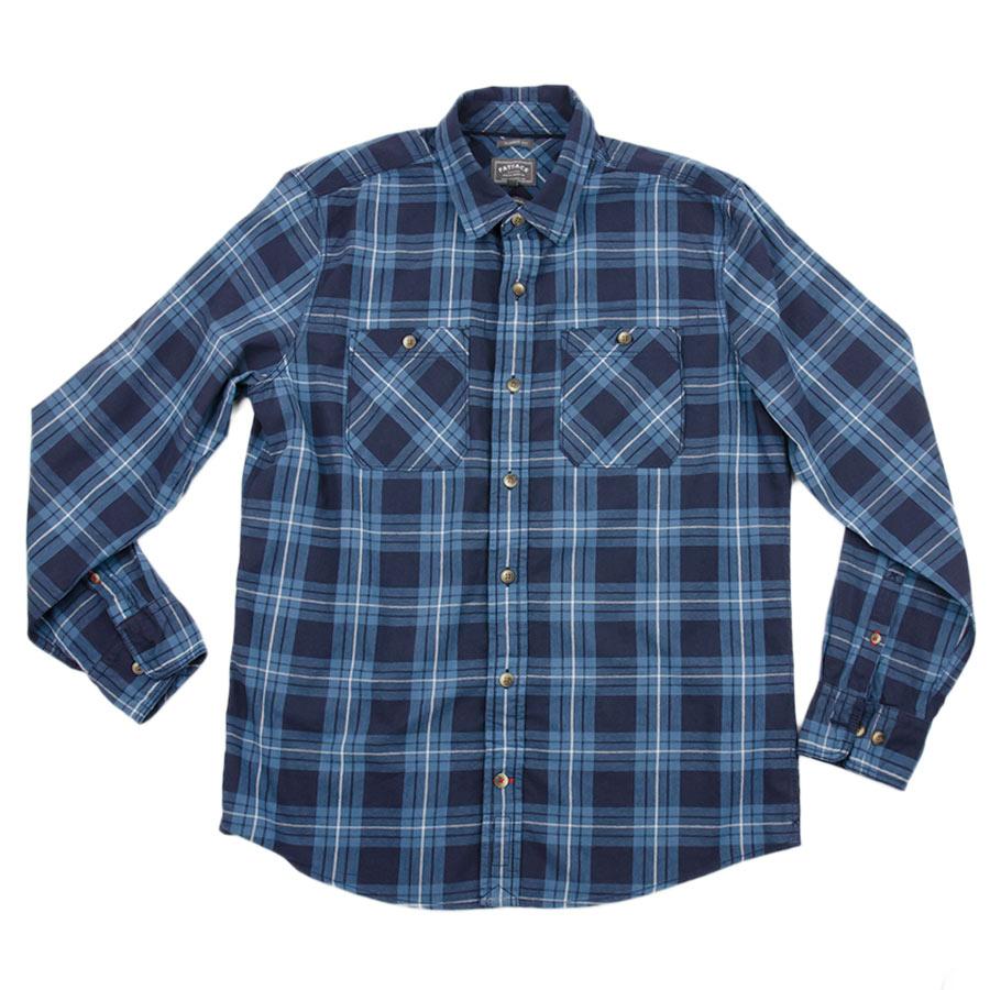 เสื้อเชิ้ตลายสก๊อต สีน้ำเงิน ผ้าบาง