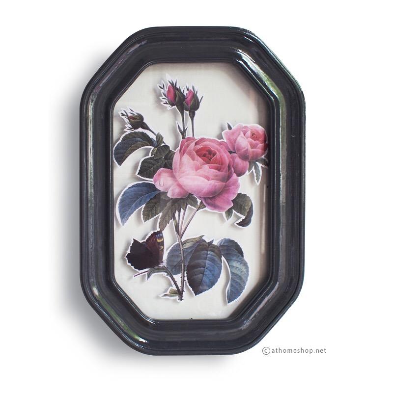 กรอบรูปแขวนผนังกระจกคู่ 8 เหลี่ยมสีเทาเข้มเคลือบเงา Double Glass Frame Glossy Dark Grey