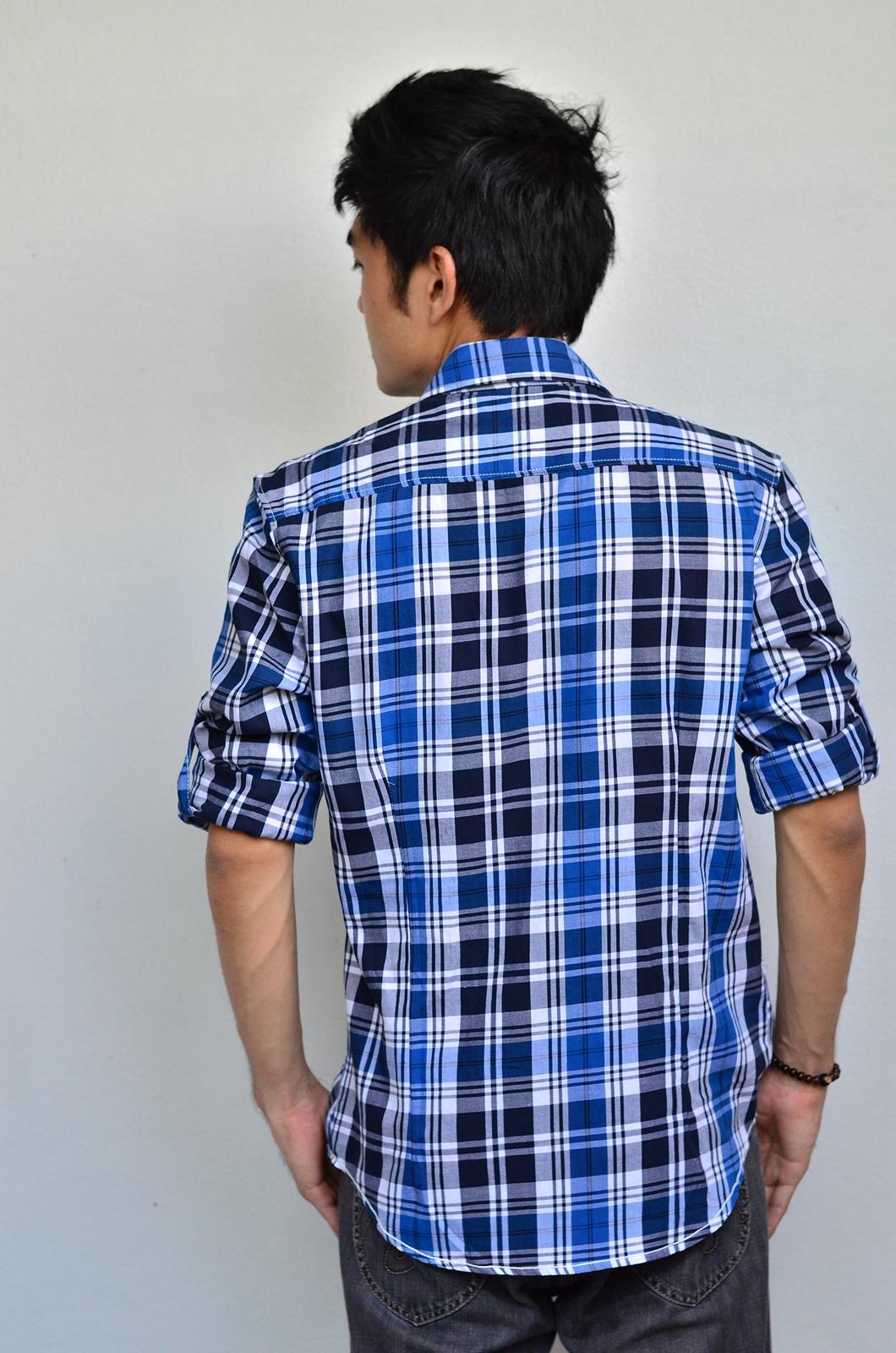 เสื้อเชิ้ตลายสก๊อต ผู้ชาย สีน้ำเงิน