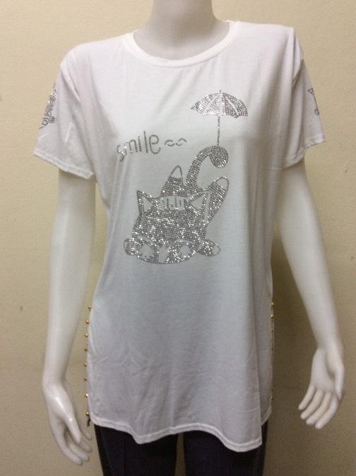 เสื้อยืดทรงยาว ผ้าสแปนเนส By Fashion taste สีขาว