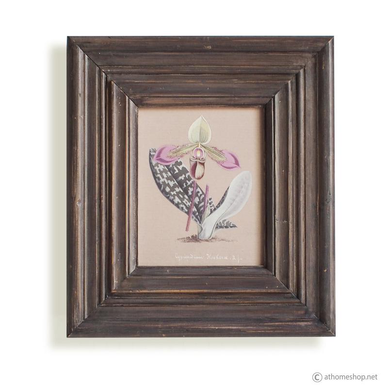 วอลล์อาร์ตพิมพ์ลายดอกกล้วยไม้สีม่วง กรอบบัวไม้
