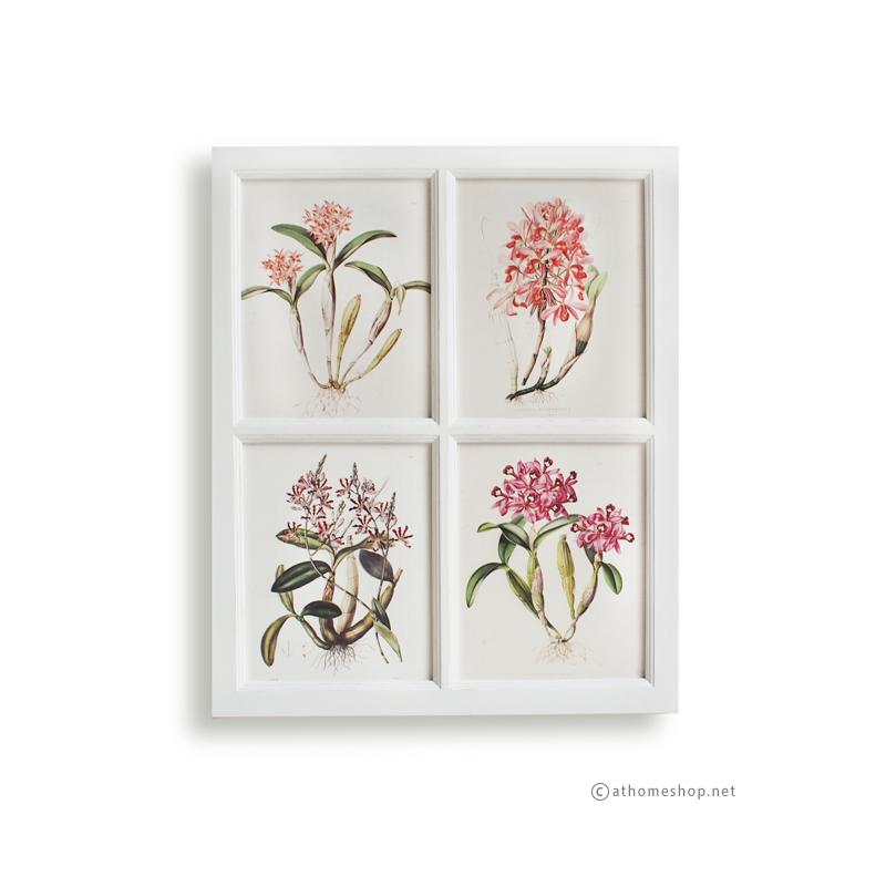 ภาพพิมพ์ลายดอกไม้สีชมพู 4 ช่อง กรอบไม้สีขาว
