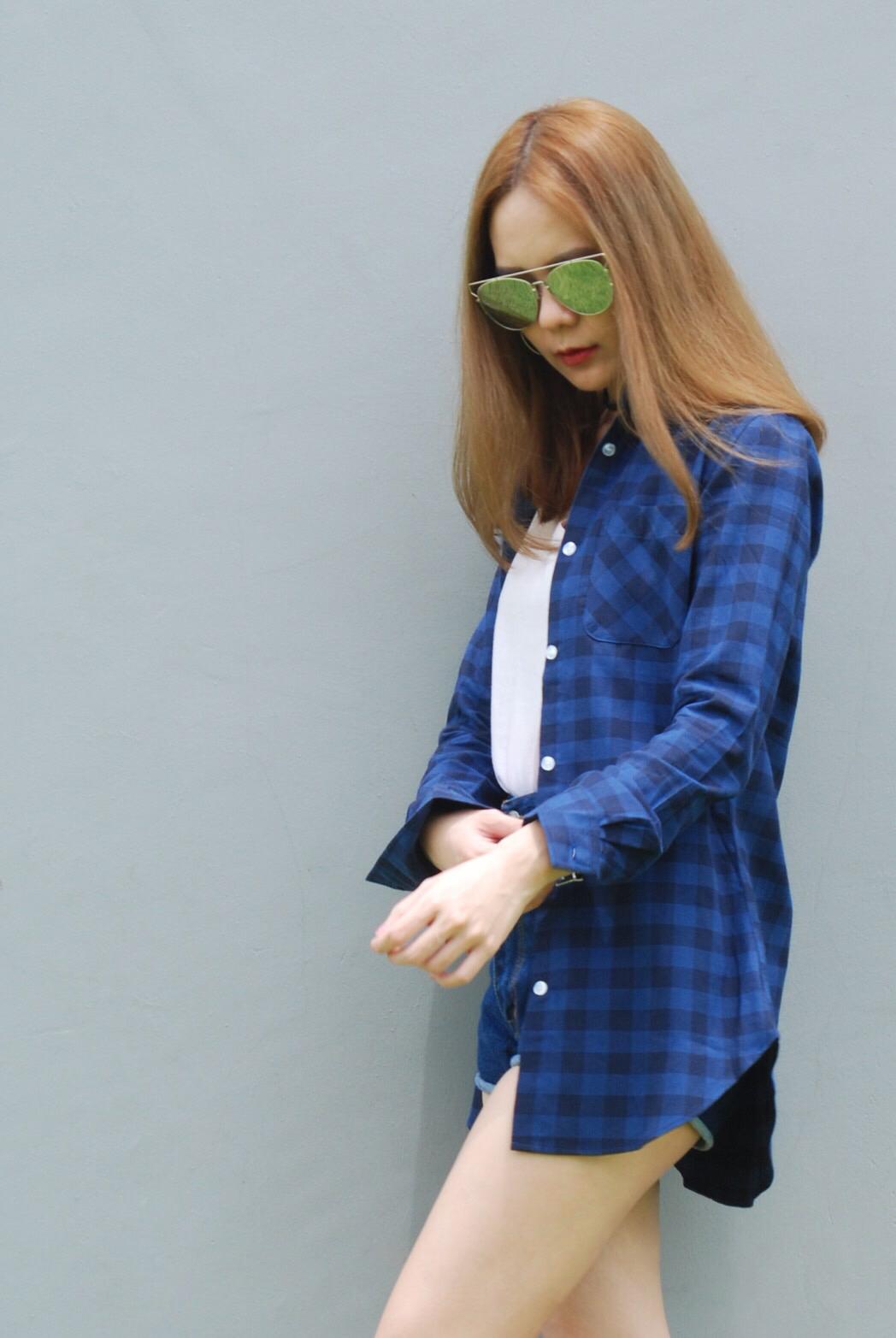 เสื้อคลุมลายสก๊อตผู้หญิง สีน้ำเงิน