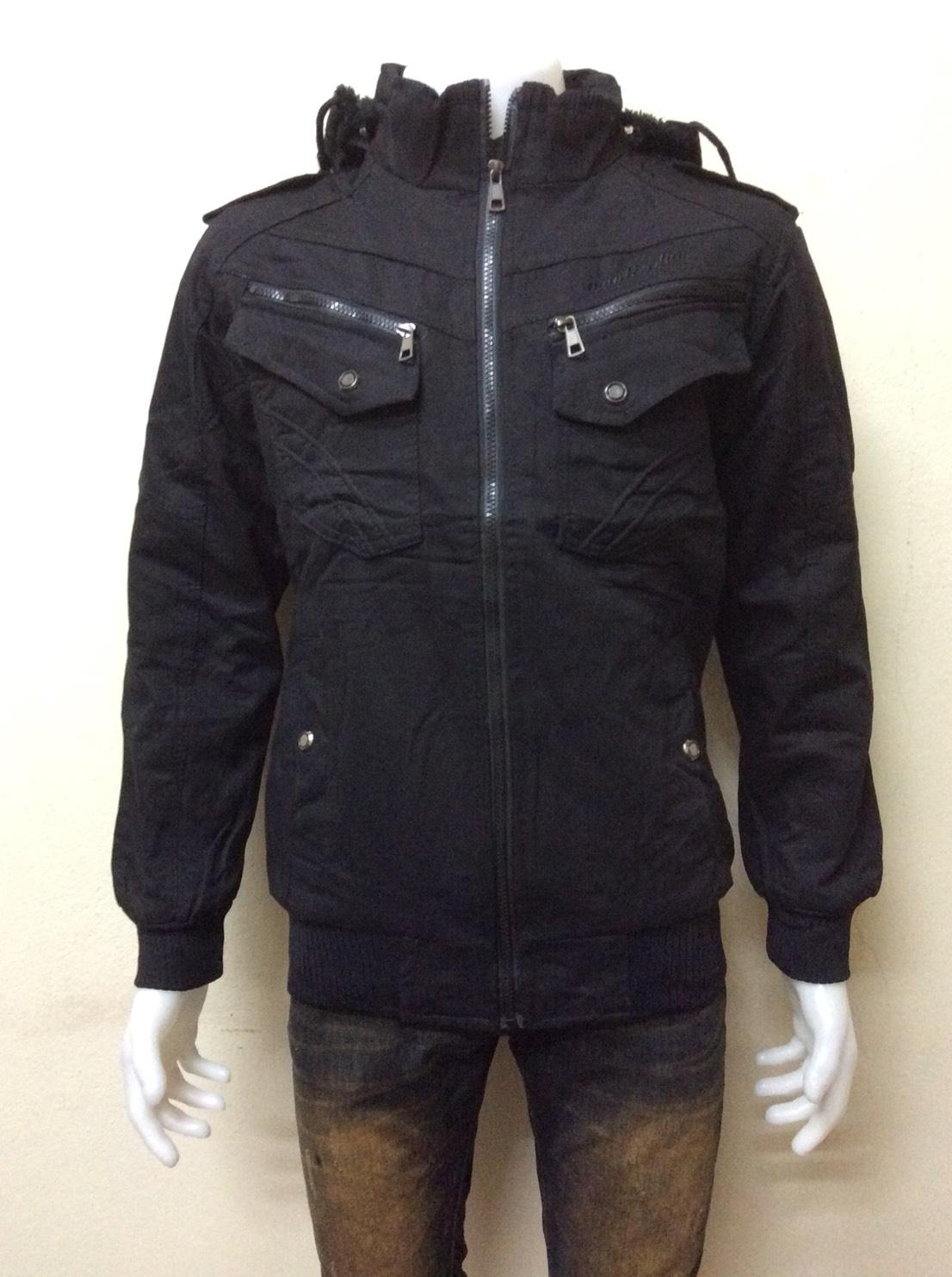 เสื้อแจ็คเก็ตกันหนาว มีฮู้ด สีดำ