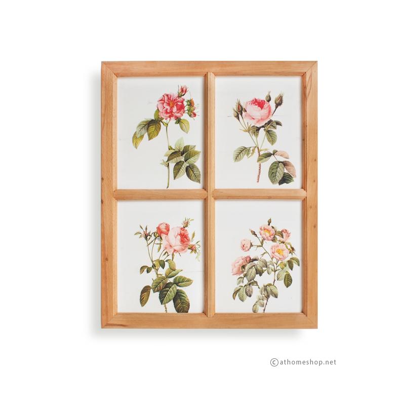 ภาพพิมพ์ลายดอกกุหลาบ 4 ช่อง กรอบไม้