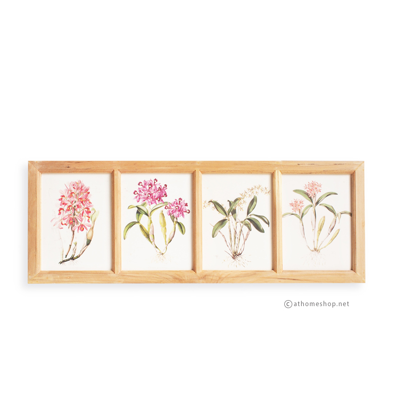 ภาพพิมพ์ลายดอกไม้สีชมพู 4 ช่อง กรอบไม้