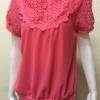 เสื้อคอกลมตกแต่งด้านหน้าและแขนลูกไม้ สีส้ม By RED FLOWER