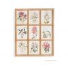 ภาพพิมพ์ลายดอกไม้สีชมพู 9 ช่อง กรอบไม้
