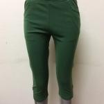 กางเกงผ้ายืดเกาหลี ขา 3 ส่วน สีเขียว(ขี้ม้า)