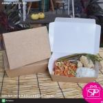กล่องข้าวสีน้ำตาล เคลือบ OPP กันไข ขนาด 14.5 x 19.5 x 6.0 ซม. Size M (บรรจุ 50 กล่องต่อแพ็ค)