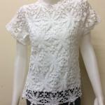 เสื้อผ้าลูกไม้แขนสั้น สีขาว By An An