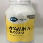 Mega vitamin A 25000 iu เมก้า วีแคร์ วิตตามินเอ 100 เม็ด
