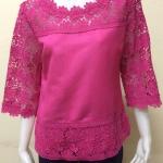 เสื้อผ้าลินินลูกไม้ สีชมพูบานเย็น Size 42
