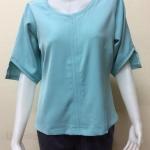 เสื้อคอกลมผ้าแฟชั่นฮานาเกะ Size 42 By PISTA สีฟ้า
