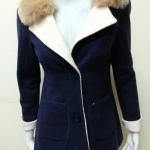 เสื้อโค้ทกันหนาว ผ้าสักหลาดแต่งขนเฟอร์ สไตล์เกาหลี