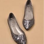 พร้อมส่ง รองเท้าแฟชั่น ส้นเตี้ย สี gray ไซส์ 41 รหัส D-1785