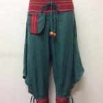 กางเกงผ้าพื้นเมืองภาคเหนือ ทรงสะกา สีเขียว