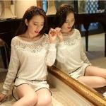 รหัส A221 เสื้อผ้าลูกไม้สีขาวเนื้อดี ซับในในตัว รอบอกประดับด้วยคริสตัลสวยเก๋