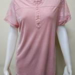 เสื้อคอกลมแฟชั่นแขนสั้น สีชมพู By MEENA
