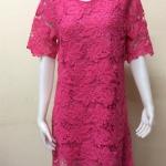 ชุดเดรสผ้าลูกไม้ สีชมพูบานเย็น By YA FAG