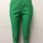 กางเกงเกาหลี ขา 3 ส่วน สีเขียว