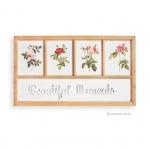 ภาพพิมพ์ดอกไม้ 4 ช่อง พร้อมตัวหนังสือ BEAUTIFUL MOMENTS กรอบไม้