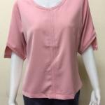 เสื้อคอกลมผ้าฮานาเกะ By PISTA สีชมพู Size 42