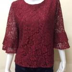 เสื้อผ้าลูกไม้วิสคอส แขนสามส่วน สีแดงเลือดหมู By Hiso Dress