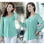 รหัส A71 เสื้อสตรีผ้าชีฟอง สวยเรียบสไตล์เกาหลีเหมือนแบบค่ะ cutting/pattern เนี้ยบ