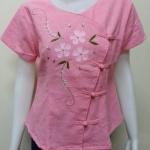 เสื้อผ้าฝ้ายพื้นเมืองภาคเหนือ สีชมพูอ่อน(ดอกสีชมพูอ่อน)