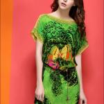 รหัส VV7604 ChunMeiNa ชุดเดรสผ้าพิมพ์ลายสีเขียวคอปาด แขนสั้นทรงหลวม