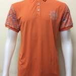 เสื้อโปโลผู้ชายผ้ามัน F&L สีส้ม