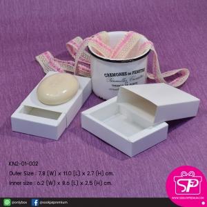 กล่องทรงกลักไม้ขีด สีขาว (ขนาด : ดูที่รูป) (บรรจุแพ็คละ 50 กล่อง)