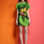 รหัส VV7604 ChunMeiNa ชุดเดรสผ้าพิมพ์ลายสีเขียวคอปาด แขนสั้นทรงหลวม thumbnail 3