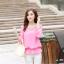 รหัส B131 เสื้อชีฟองสีชมพู ดีไซน์สวย ปักฉลุหน้าหลัง thumbnail 1