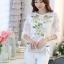 รหัส MN23 เสื้อสไตล์เกาหลี ดีเทลผ้าพื้นสีขาวพิมพ์ลายดอกไม้ ต่อแขนเสื้อผ้าลูกไม้ เพิ่มรายละเอียดด้วยคริสตัลและลูกปัดที่ลายดอก งานละเอียด ตัดเย็บเรียบร้อย thumbnail 4