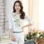 รหัส MN23 เสื้อสไตล์เกาหลี ดีเทลผ้าพื้นสีขาวพิมพ์ลายดอกไม้ ต่อแขนเสื้อผ้าลูกไม้ เพิ่มรายละเอียดด้วยคริสตัลและลูกปัดที่ลายดอก งานละเอียด ตัดเย็บเรียบร้อย thumbnail 3
