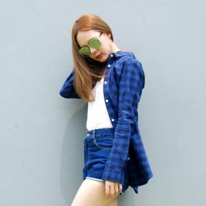 เสื้อลายสก๊อตผู้หญิงสีน้ำเงิน