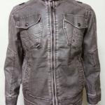 เสื้อแจ็คเก็ตหนังเทียมเกรดพรีเมี่ยม สีเทาA