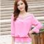 รหัส B131 เสื้อชีฟองสีชมพู ดีไซน์สวย ปักฉลุหน้าหลัง thumbnail 3