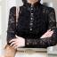 รหัส A53 เสื้อผ้าลูกไม้เนื้อดีแขนยาวสีดำ คอจับจีบตั้ง ตัดเย็บเรียบร้อยสวยเหมือนแบบ thumbnail 4