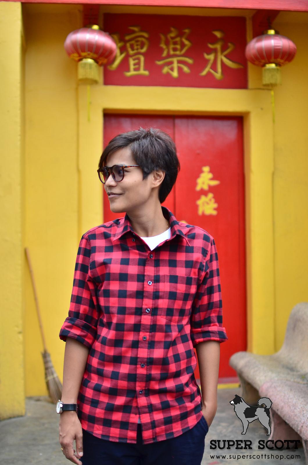 เสื้อเชิ้ตลายสก๊อต สีแดง