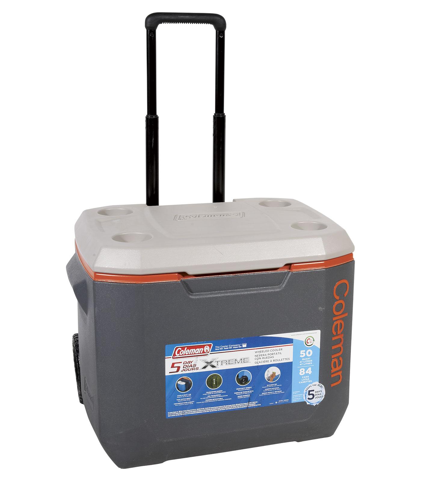 Coleman 50Q wheeled Xtreme5 Dark Grey/Orange Cooler