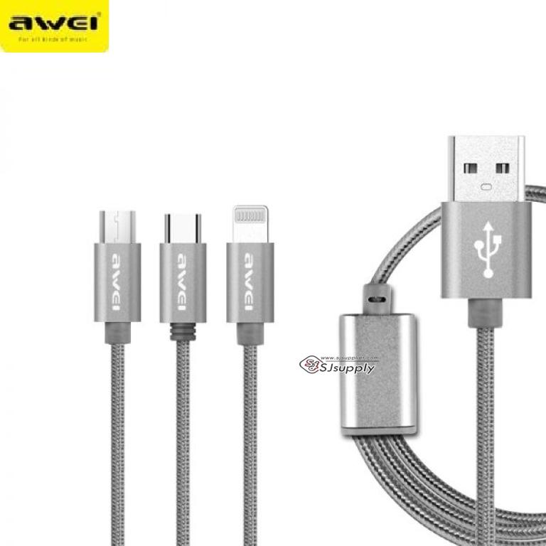 สายชาร์จ Awei CL-970 3in1 (Type C) Lighting (ios) & Micro USB (android) สีเทา